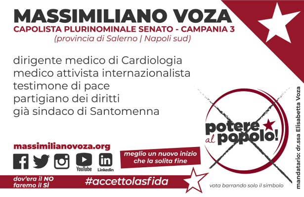 Bigliettino Voza Capolista Senato - Campania 3 (fronte)