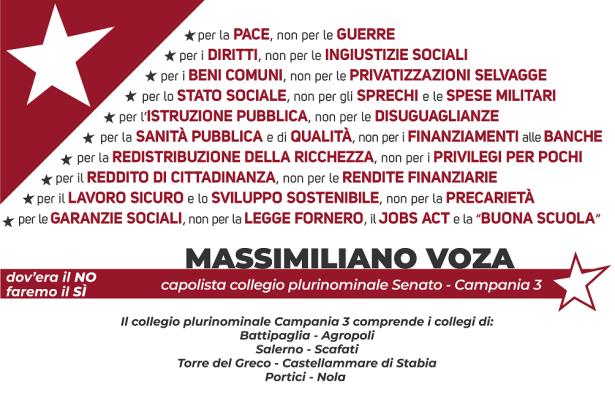 Bigliettino Voza Capolista Senato - Campania 3 (retro)